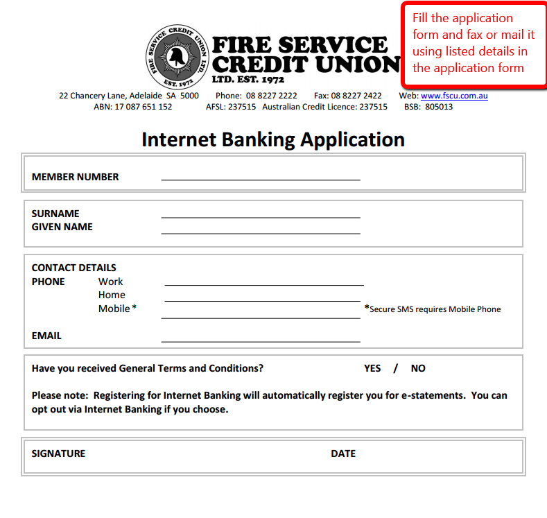 Fire Service Credit Union Online Banking Login CC Bank – Fire Service Application Form