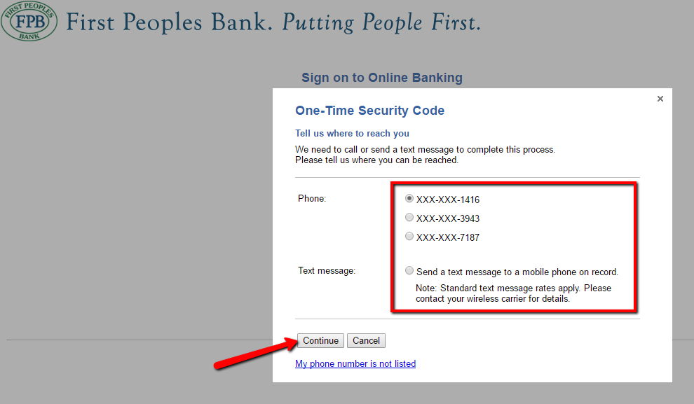 bank login peoples banking enter security code accepted once then