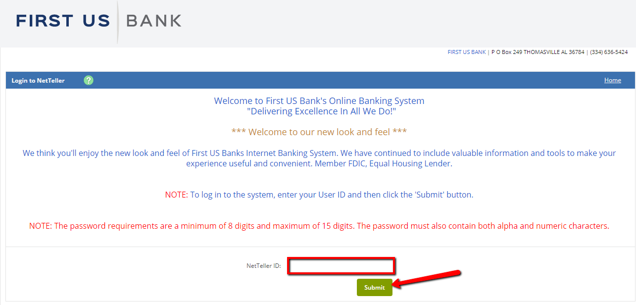 First us bank online banking login cc bank step 3 in the login page enter your netteller id then submit sciox Gallery
