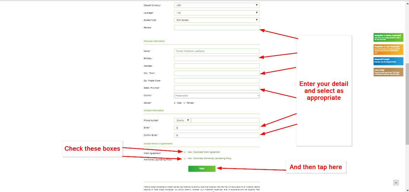 Register for forex information