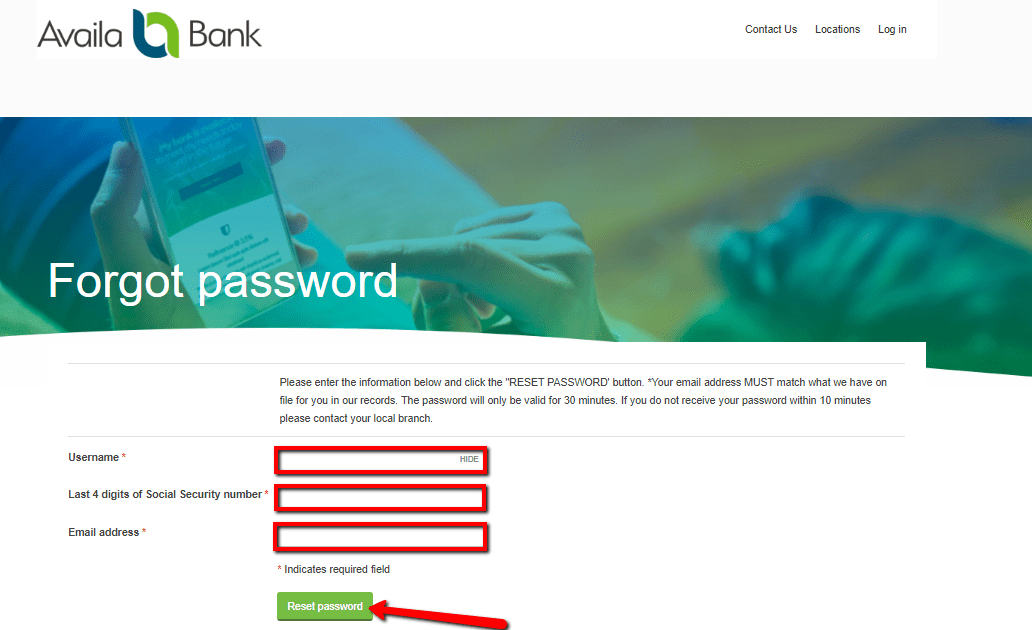 Fill in the details. Then, click on the reset password option