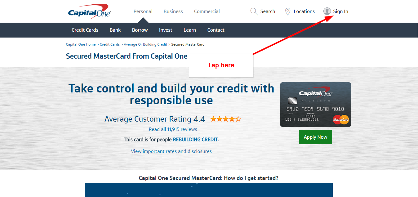 Capital One Secured MasterCard Online