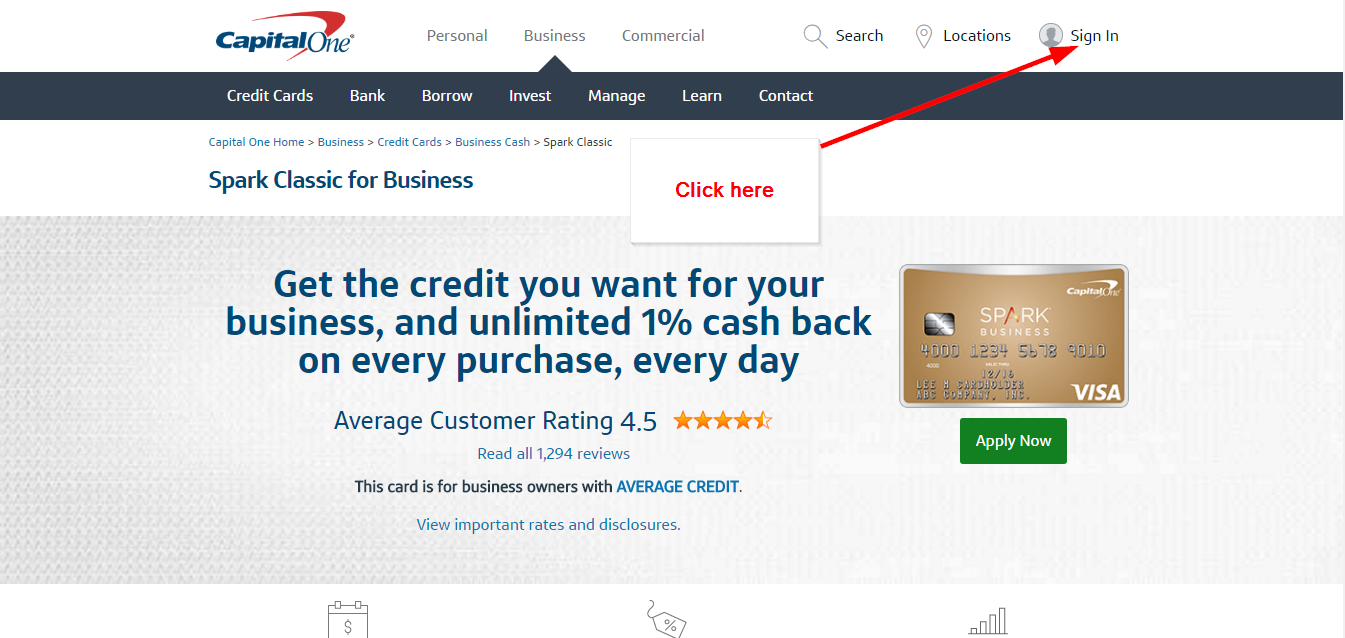 Capital one spark classic for business credit card online login step 3 select the business option and then click the sign in button colourmoves