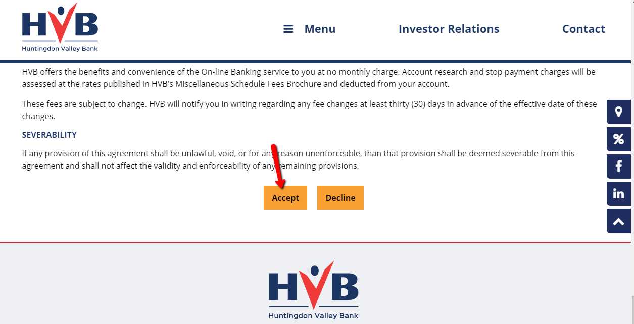 Step 2- Review the Internet Banking Terms and Conditions Agreement, then  click Accept to proceed