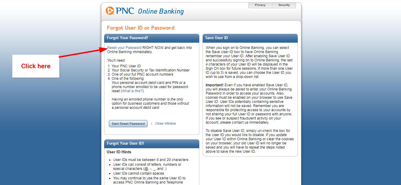 Pnc cash rewards visa signature business online login cc bank step 2 tap the reset your password space magicingreecefo Gallery