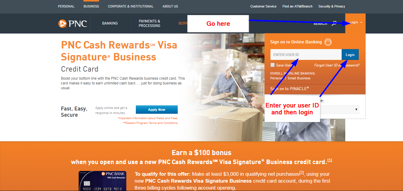 Pnc cash rewards visa signature business online login cc bank in the next page you will be asked to enter your password and then access your account colourmoves Gallery