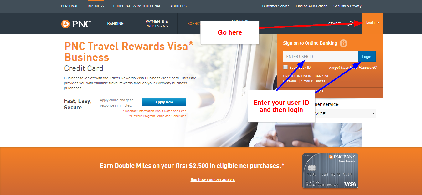 Pnc bank travel rewards visa business online login cc bank how to get your user id or password if forgotten reheart Images