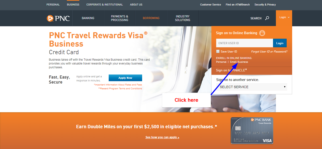 Pnc bank travel rewards visa business online login cc bank step 1 click on the small business section colourmoves Image collections