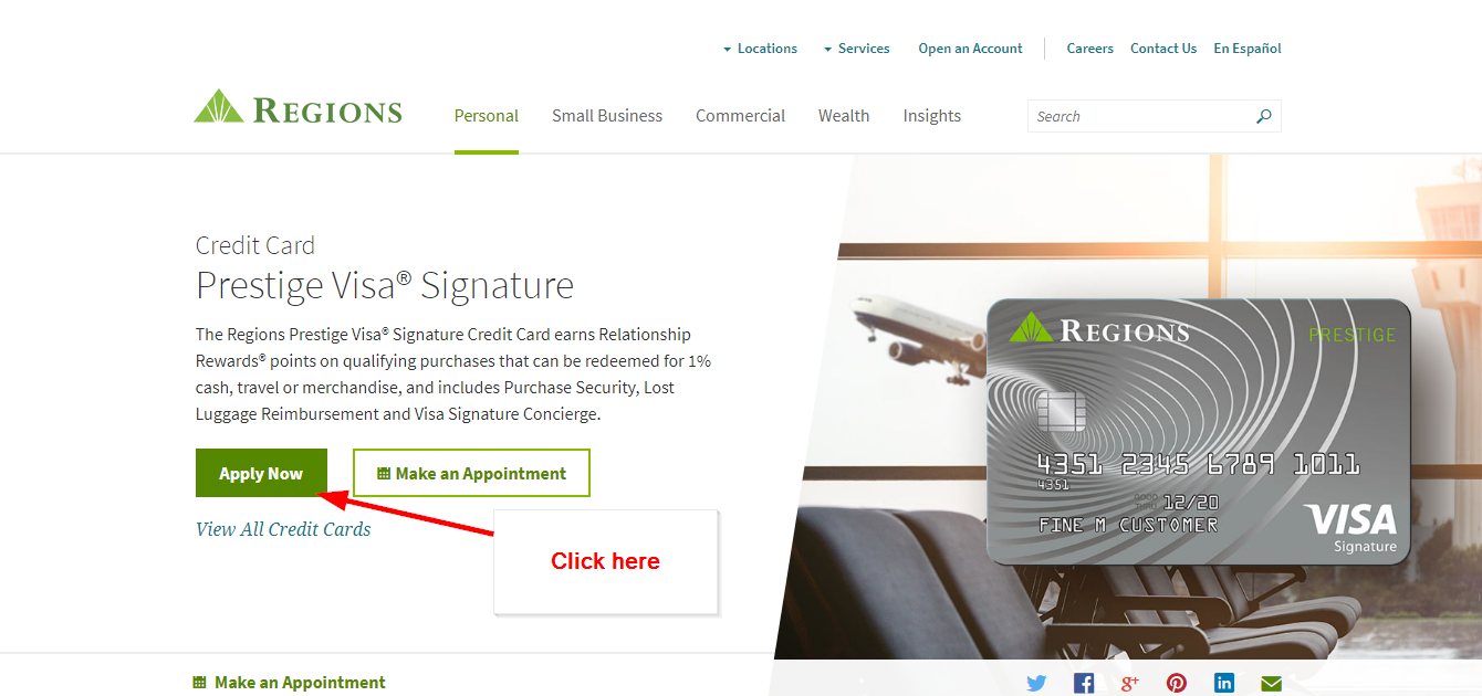 Regions Prestige Visa Signature Credit Card Online Login