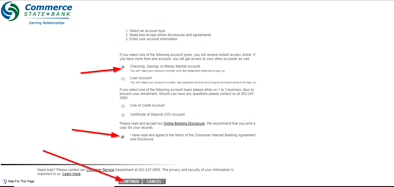 step 2 select the account type read the online disclosure agreement check the box and then continue