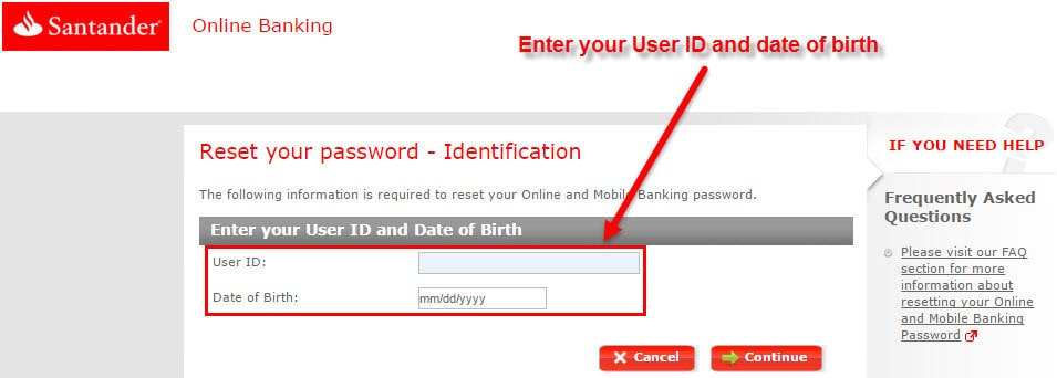 Step 3 On The Next Page Enter Last Four Digits Of Your Santander Debit Atm Or Credit Card Number Pin And Click Continue