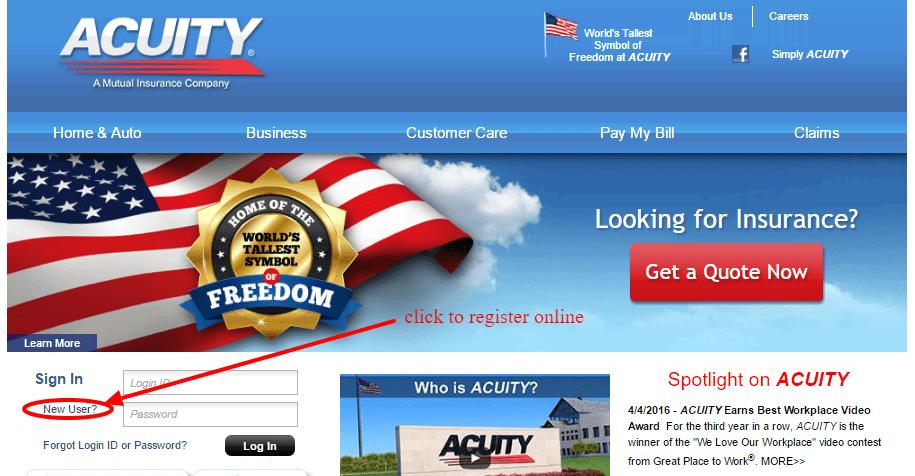 ACUITY Insurance online registration