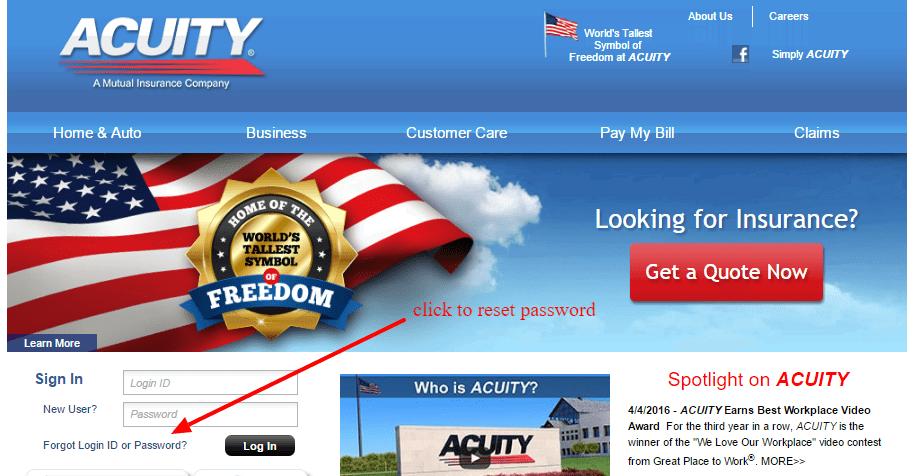 ACUITY Insurance password reset