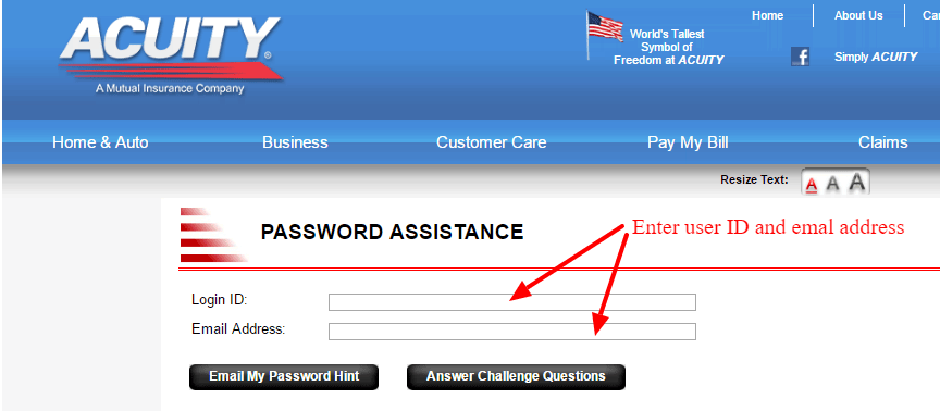 ACUITY password assistance
