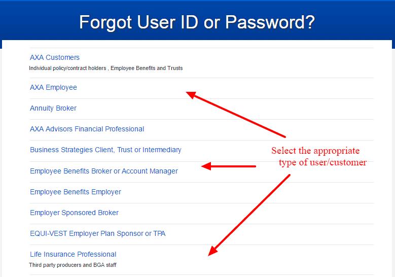AXA forgot-password