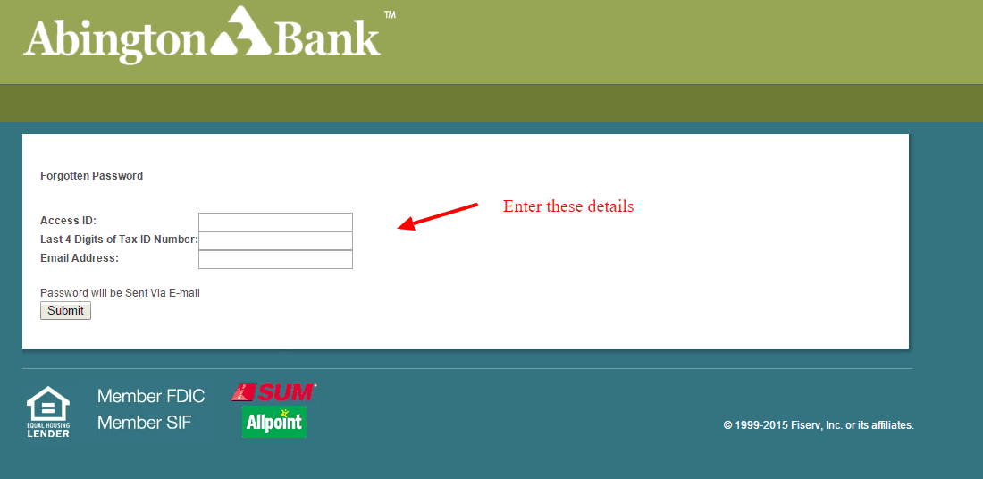 Retrieve Password Abington Bank Internet Banking