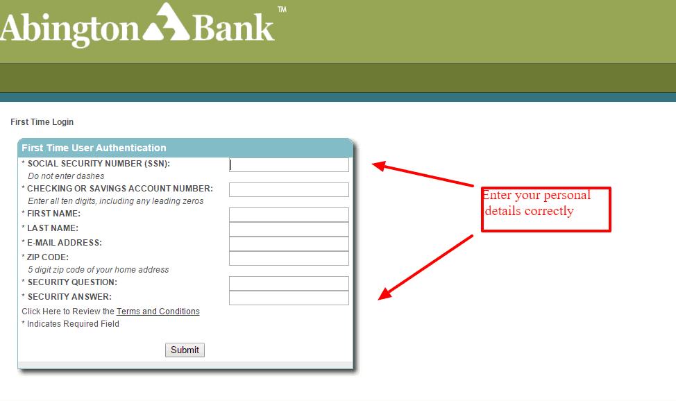 Abington Bank Online Banking Enrollment Details
