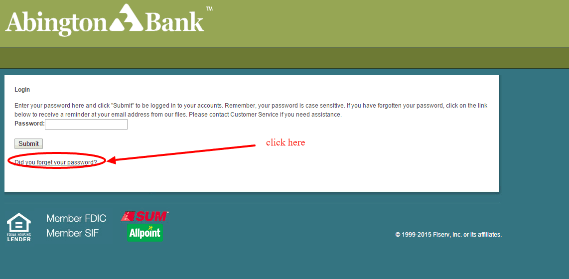 Abington bank forgot password