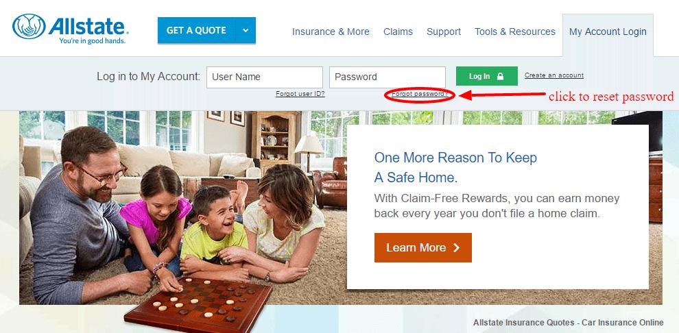 AllState Reset Password