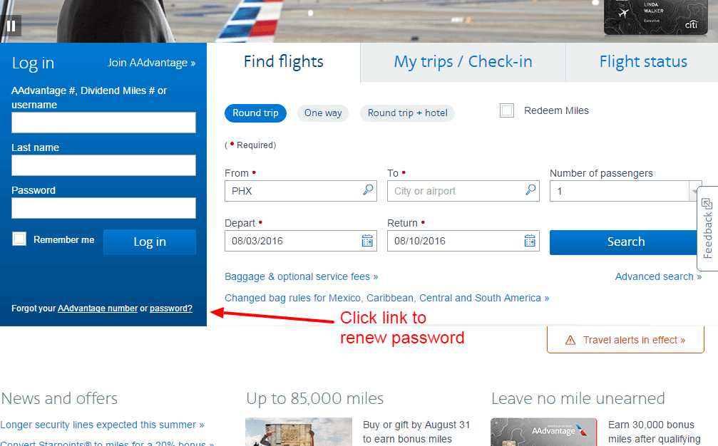 American Airlines PASSWORD