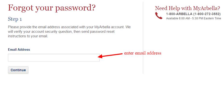 Arbella Forgot-Password