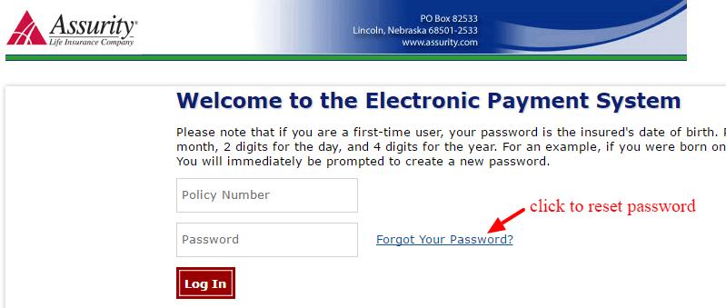Assurity Life forgot-password