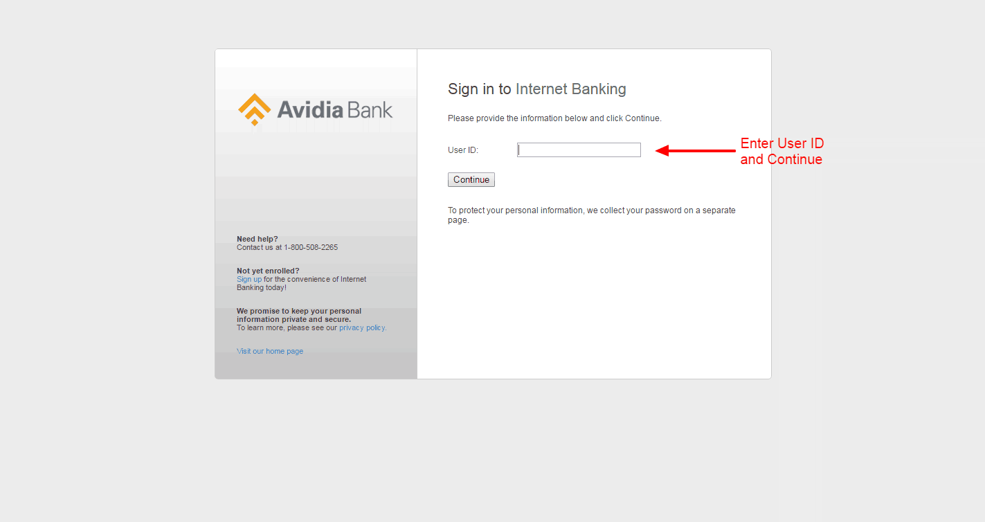 Avidia Bank login 3