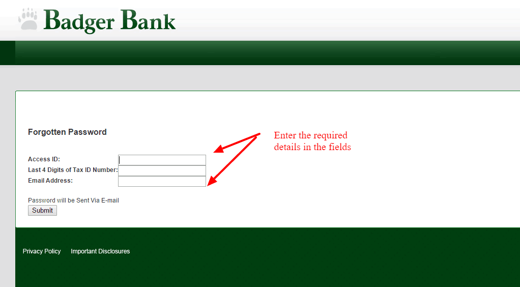 Badger Bank Password Change