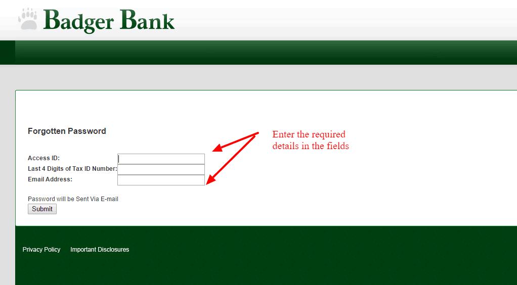 Badger Bank Password Change