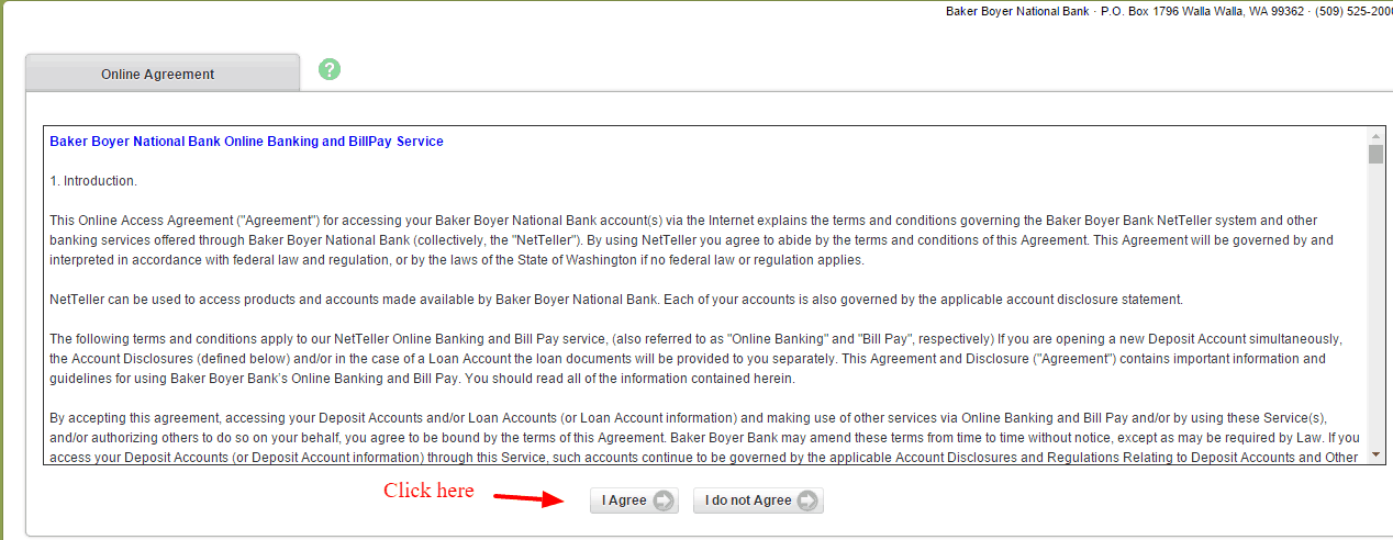 Baker Boyer National Bank Online Agreement