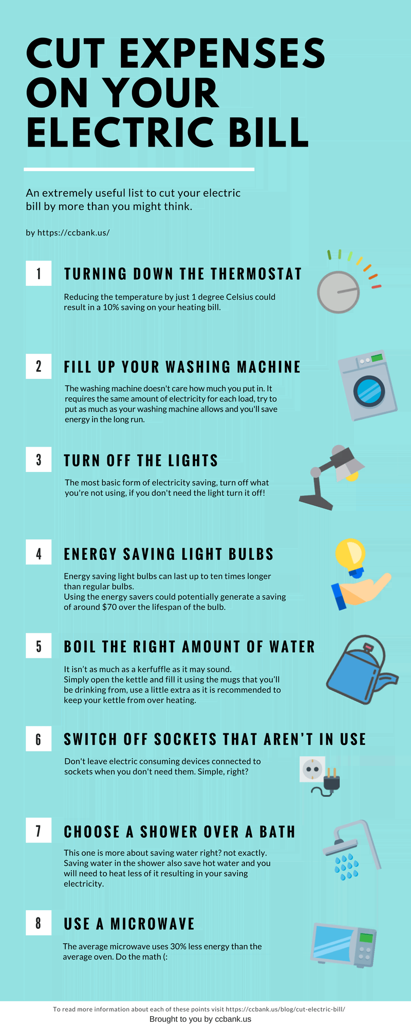 Cut expenses on your electric bill infographic by cc bank