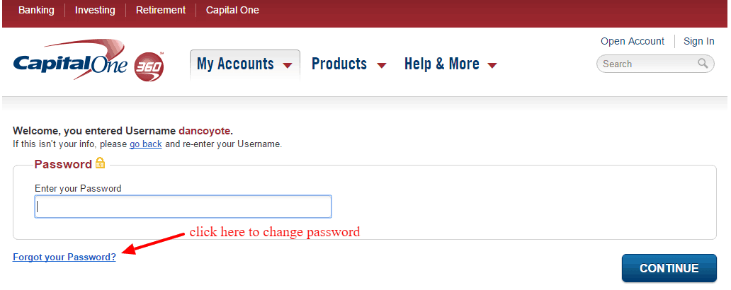 Capital One 360 Change Password