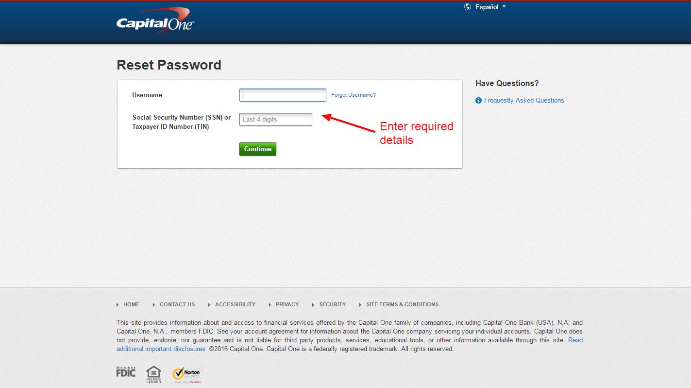 Capital One Reset Password