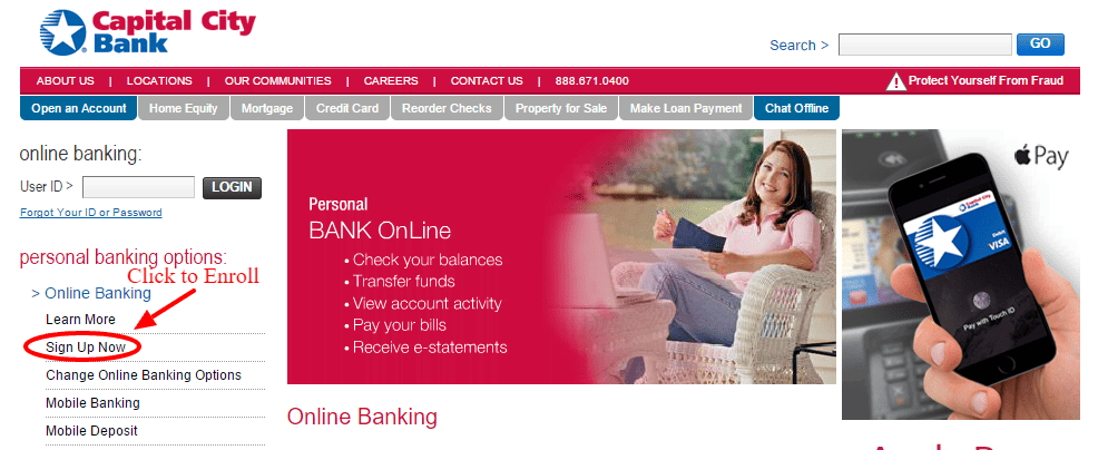 Capital City Bank Enroll Online Banking