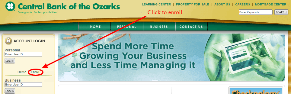 Central Bank of the Ozarks Online Enrollment