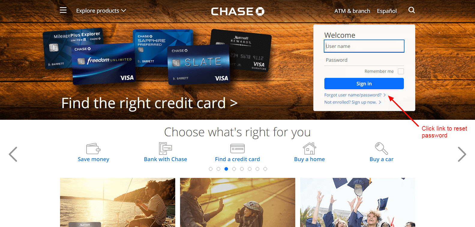 Chase Bank reset