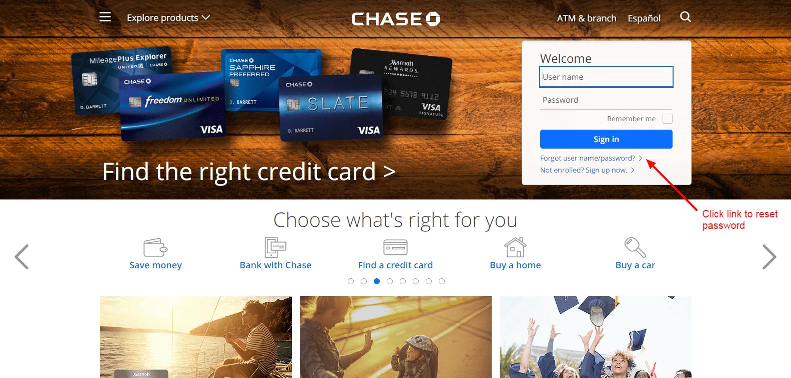 Chase Bank reset