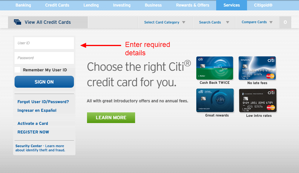 Citibank Online Sign In >> Citi Credit Card Online Login Cc Bank