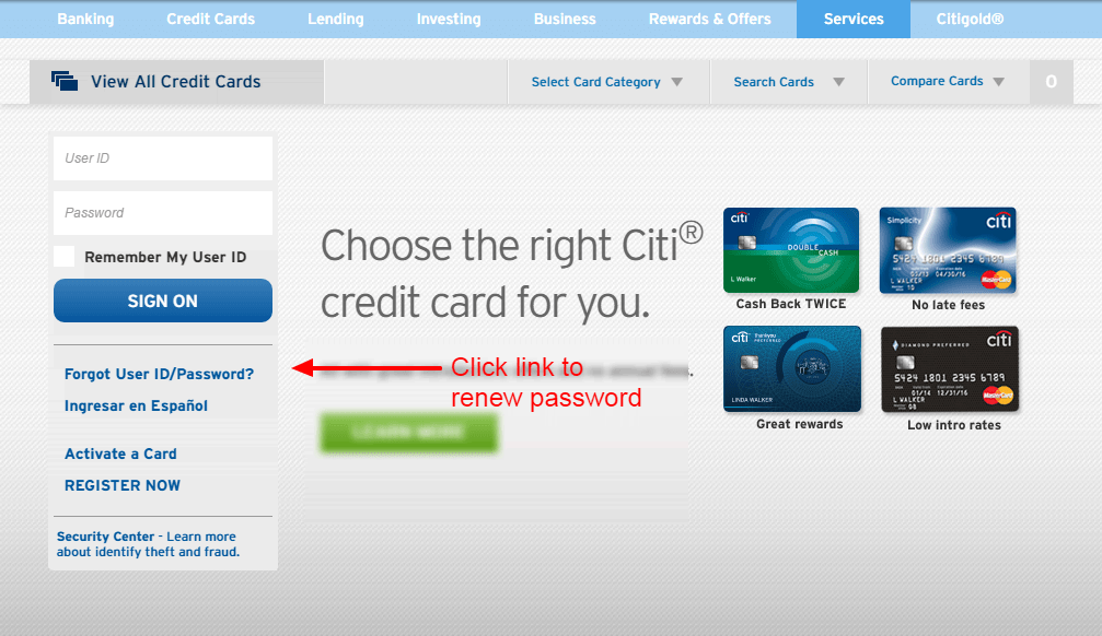 Citi PASSWORD