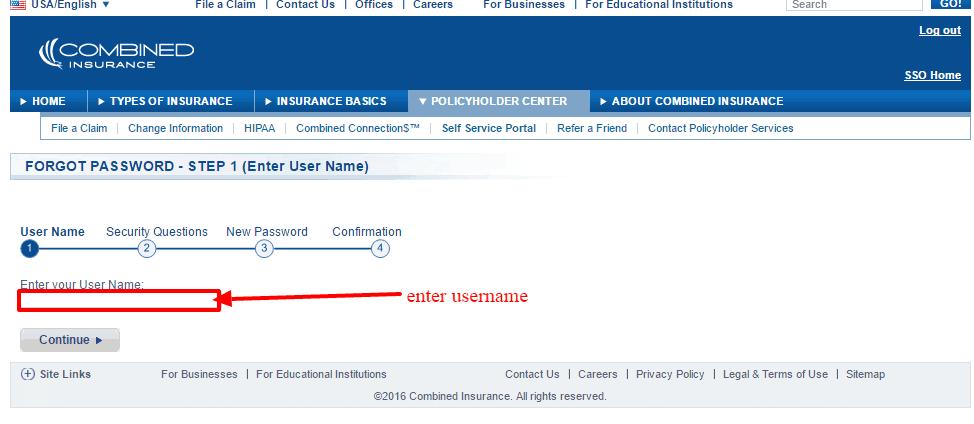 Combined insurance username