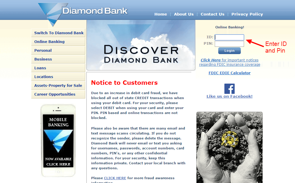 Diamond Bank login