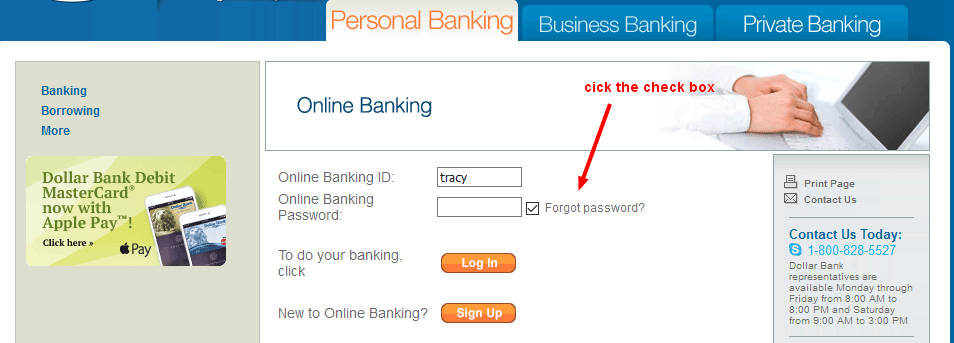 Dollar Bank Online Banking Forgot Pasword