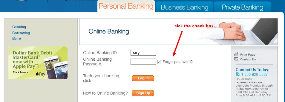 Dollar Bank Online Banking Forgot Pasword