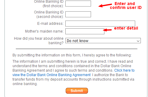 Dollar Bank Online Banking User ID