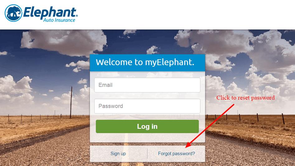 Elephant Auto Insurance password reset