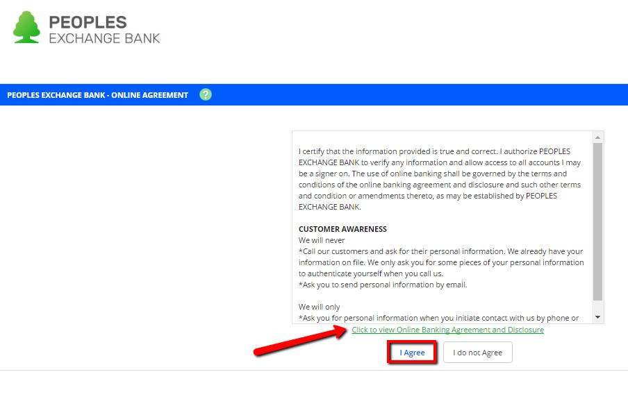 bank login peoples banking exchange enroll then enrollment submit fill form step
