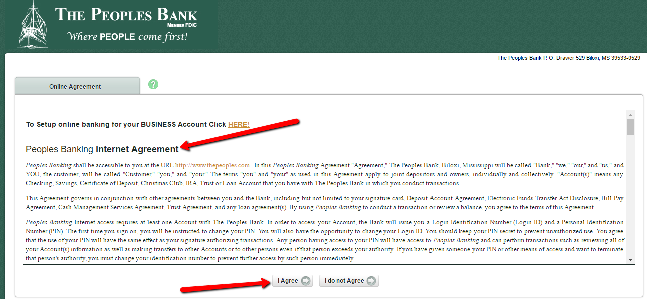bank login peoples banking verification correctly continue enter step then