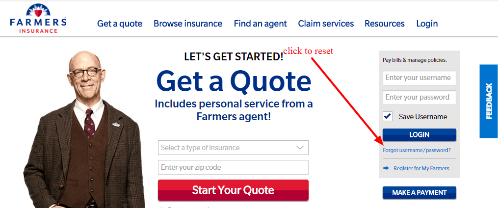 Farmers Insurance account reset