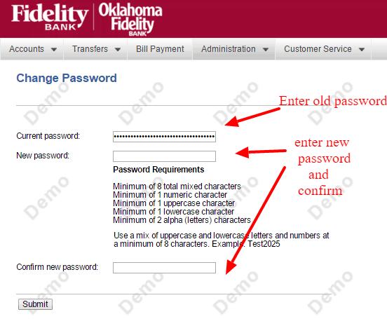 Fidelity Bank New Password