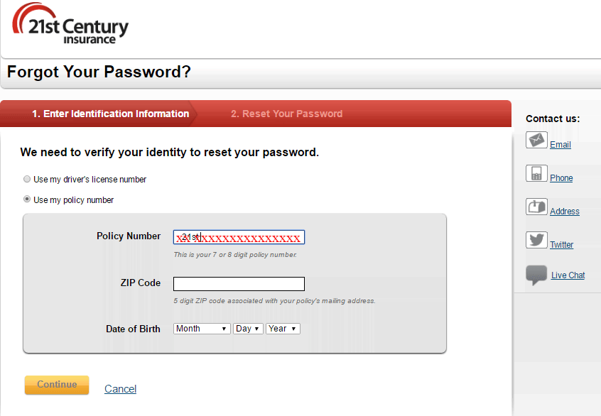 Forgot Your Password 21st Century Insurance